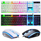 Computer Desktop Gaming Keyboard Mouse Mechanical Feel Led Light Backlit