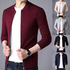 Men Stand Collar Cardigan Solid Color Zipper Knitwear Coats Winter Warm Sweater