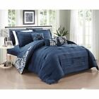 Navy Blue White Damask Striped Pleated 10 pc Comforter Set Queen King Bed Bag image
