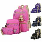 3Pcs Set Women Girls School Backpack Canvas Travel Bag Shoulder Bookbag Satchel  image