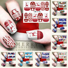 1 PC Christmas Pink Snowflake Snowman Transfer Stickers Nail Art Water Decals