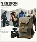 Vintage Camera Photography Backpack Waterproof Leather Canvas Bag Large Space