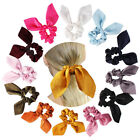Women Solid Color Satin Rabbit Ear Scrunchies Big Bow Elastic Ponytail Hair Rope