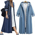 Fashion Women Single Breasted Open Long Hood Coat Jacket Sweatshirt Outwear Tops
