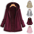 Women Pocket Zipper Long Sleeve Plush Hoodie Coat Fashion Winter Hooded Jacket