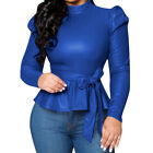 Women Autumn Faux Leather PU Tee Top Long Sleeve Turtleneck Slim Sexy T-shirts