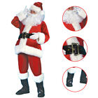 ADULTS 7 PIECE SANTA CLAUS SUIT FATHER CHRISTMAS COSTUME MENS XMAS FANCY DRESS