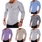 Men's Fashion Slim Fit O Neck Long Sleeve Muscle Tee T-shirt Casual Tops Blouse image