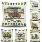Home Decor Happy Camper Sofa Bedroom Home Waist Throw Cushion Cover Pillow Case