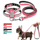Dog Pet Leash Suede Leather Rhinestone Walking Leads Harnesses  4 Colors S-L