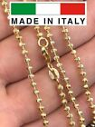 14K Gold Over Solid 925 Silver Ball Moon Diamond Cut Chain MADE IN ITALY 2.5mm $22.87 USD on eBay