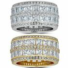 Solid 925 Silver Diamond Tennis Wedding Band Ring His Hers Set Gold ICY Pinky