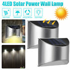 Outdoor Solar 4 LED Bright Deck Light Garden Patio Pathway Fence Wall Lamp IP55