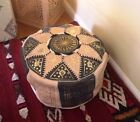 Moroccan pouffe Leather footstool Grey colour seating ottoman pouffet puffet