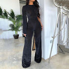 Women See Through O Neck Wide Leg Pant Elegant Office Ladies Overalls Jumpsuits