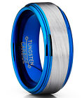 Blue Tungsten Carbide Vortex Brushed Wedding Band Engagement Ring image