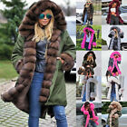 Women Winter Warm Coat Hooded Long Parka Jacket Thicken Lining with Fur CA