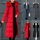 Women's Long Quilted Hooded Down Jacket Winter Puffer Fur Collar Parka Coat CA