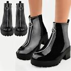 Womens Ladies Black Patent Ankle Boots Ring Zip Detail Chunky Smart Casual Size