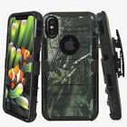 For iPhone X Holster Hard Rugged Case Cover w. Kickstand & Belt Clip Camo Black