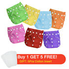 Baby Cloth Diaper Reusable Washable Adjustable Pocket Waterproof Nappy Suit 6PCS