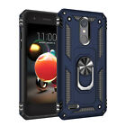 For LG K30/K10 2018/Phoenix Plus Shockproof Ring Stand Case Cover+Tempered Glass