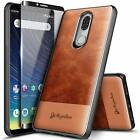 For Coolpad Legacy Case Shockproof Brown Leather Cover +tempered Glass Protector