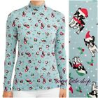 Time and Tru Christmas Frenchie French Bulldog Boston Terrier Dog Mock Neck Top