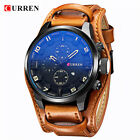 CURREN Men's Sports Quartz Watches Leather Analog Date Army Military Wrist Watch image