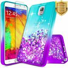 For Samsung Galaxy Note 3 Case Liquid Glitter Bling Phone Cover + Tempered Glass