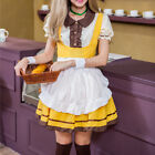 US SHIP Lady Anime Slim Yellow Mix White Maid Costume