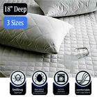2PCS QUILTED MATTRESS PROTECTOR TOPPER LUXURY FITTED COVER FULL KING CK SIZE RE image