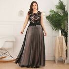 Ever-Pretty US Plus Size Lace Floral Long Evening Dress A-Line Holiday Prom Gown