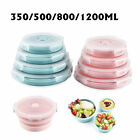 Portable Round Folding Silicone Lunch Box Bento Food Container Kitchen Microwave