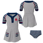 MLB Boston Red Sox Girls' Striped Infant/Toddler Dress And Bloomers Choose Size