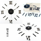 Modern DIY 3D Wall Stickers Paper Clock Roman Numerals Mirror Decal Home Decors