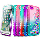 For iPhone 6 6s 7 8 Plus Case Liquid Glitter Bling Phone Cover + Tempered Glass