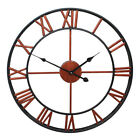 Roman Numeral Large Wall Clock Antique Retro 3D Round Silent Garden In/Outdoor