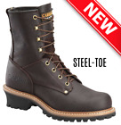 CAROLINA 8  ELM STEEL-TOE LOGGER BROWN LEATHER BOOTS 1821 ALL SIZES  WIDTHS