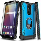 For LG Neon Plus Case Magnetic Ring Kickstand Phone Cover + Tempered Glass