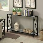 Console Table Vintage Accent Stand Side Entryway Display Storage Shelf Black