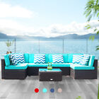 7 Pcs Patio Rattan Wicker Sofa Set Cushioned Sectional Couch Furniture Outdoor