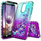 For LG Stylo 4 / Stylo 4 Plus Case Liquid Glitter Bling Cover + Tempered Glass
