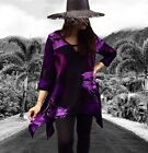 SC97 BOHO STYLE TOP BLOUSE RAYON CRINKLE 3/4 SLEEVE BLACK PURPLE IN STOCK M OS