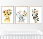 Kyпить Safari Jungle Animals Nursery Prints Set Baby Kids Room Pictures Floral Decor на еВаy.соm