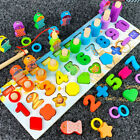 Montessori Wooden Fishing Game Toys Kids Preschool Educational Board Math Toys