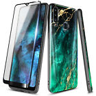For Samsung Galaxy A20S Case Ultra Slim Shockproof Marble Cover + Tempered Glass