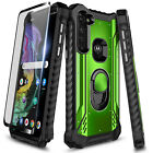 For Motorola Moto G Stylus Case Metal Magnetic Ring Stand Cover + Tempered Glass