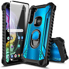 For Motorola Moto G Stylus Case Magnetic Ring Stand Phone Cover + Tempered Glass