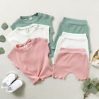 Toddler Kids Baby Girls Boys Solid Color T shirt Tops Shorts Pants Outfits Set